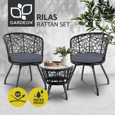 Garden Furniture - Gardeon Outdoor Furniture Rattan Bistro Set Chair Patio Garden Wicker Cushion