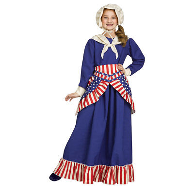 Girls Betsy Ross Historical American Costume - Historical Costumes For Girls