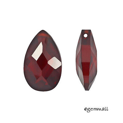 2 Cubic Zirconia Flat Pear Briolette Pendant Beads 10x16mm Garnet Red #96196 ()