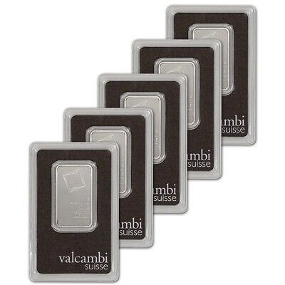 1 oz. Platinum Bar - Valcambi Suisse - 999.5 Fine in Assay - Five 5 Bars