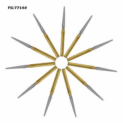 10 Pcs Fg7714 Dental Tungsten Finishingtrimming Drills Carbide Burs High Speed