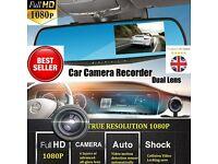 "Car DVR Dash Mirror Dual Camera 4.3"" Dual Lens Cam Recorder Full HD 1080 wide 170 angle"