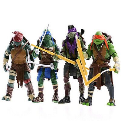 4PCS TMNT Teenage Mutant Ninja Turtles Action Figures Anime Movie Toys