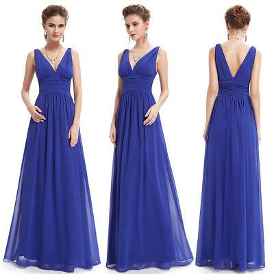 Ever-Pretty US Long Chiffon Bridesmaid Dresses Sapphire Blue Evening Gown 09016