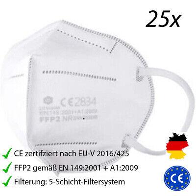 25 Stück FFP2 Masken CE zertifiziert mit 5-Schicht-Filtersystem Atemschutzmaske