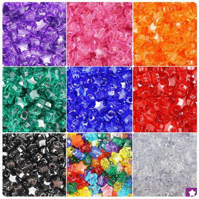BeadTin Transparent 13mm Star Pony Beads (250pcs) - Color choice](Plastic Star Beads)