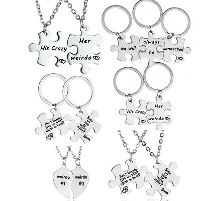 Silver Best Friends Necklaces Set Chain BFF Friendship Necklaces For Teen
