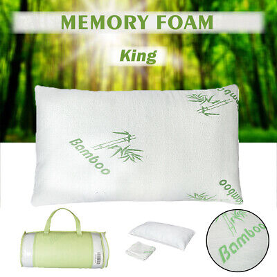 1PC King Size Bamboo Bed Pillow Hypoallergenic Memory Foam Soft Deep Sleep W/Bag