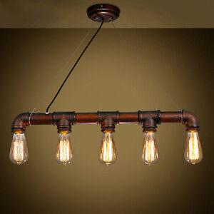 industrial steampunk lamp iron pipe ceiling fixture pendant light 5 edison bulb ebay. Black Bedroom Furniture Sets. Home Design Ideas
