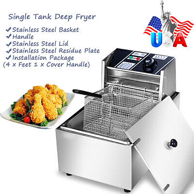 6.3qt 2500w 6l Electric Deep Fryer Tank Commercialhome Stainless Steel New