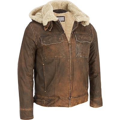 Wilsons Leather Mens Big & Tall Vintage Leather Bomber Jacket W/ Faux-Shearling