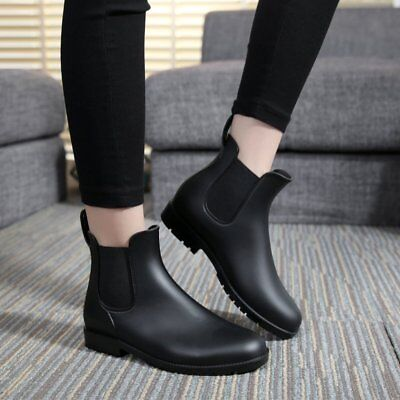 Unisex Short Rain Boots Waterproof Slip On Ankel Chelsea Booties Women& Man AIKE
