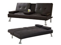 Cinema style 3 Seater Leather Sofa Settee with cup holder- Brandnew