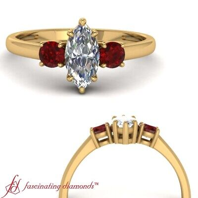 3/4 Carat Marquise Cut Diamond And Ruby Gemstone Engagement Ring In Yellow Gold