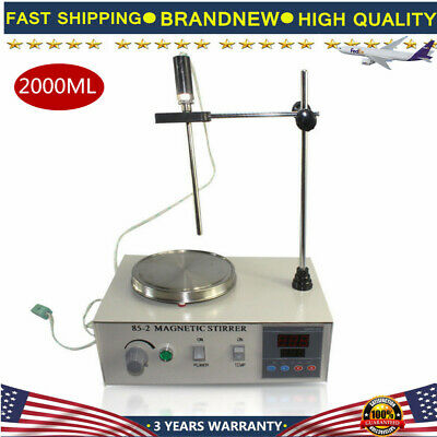 85-2 Magnetic Stirrer 2000ml With Hot Plate Digital Heating Lab Mixer 2400rpm Us