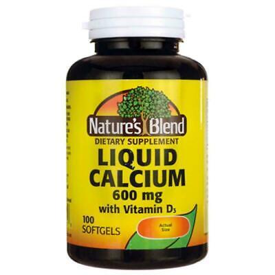 Calcium Liquid Softgel (Nature's Blend Liquid Calcium + Vitamin D3 Soft Gels 600 mg 100 Ct Expires 4/21)