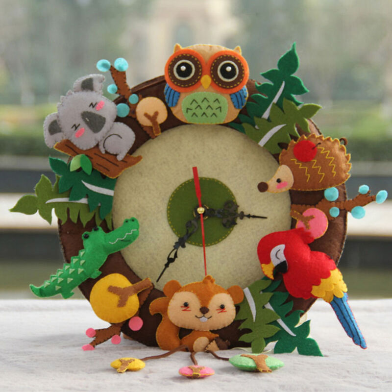 Baoblaze DIY Animals Clock Wall Hanging Felt Applique Kit Sewing Projects