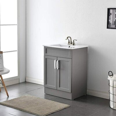 """Modern 24"""" Light Gray Bathroom Vanity Combo Set Free Standing Cabinets with Sink"""
