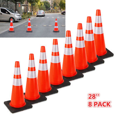 28 Inch Safety Traffic Cones Fluorescent Orange Reflective Collar 8 Packages Ups