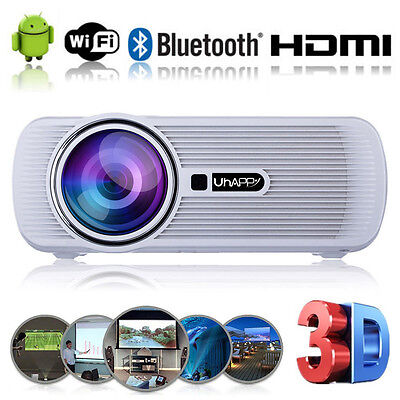 Android4.4 WIFI HD 1080P LED Projector 7000Lumen 3D Home Theater Projector White