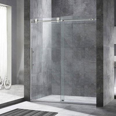 """WoodBridge Frameless Sliding Shower Door, 56"""" - 60"""" Breadth, 76"""" Height, Chrome"""