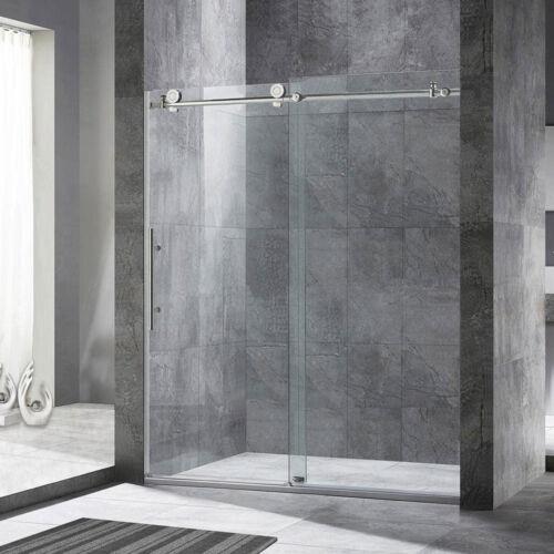 "WoodBridge Frameless Sliding Shower Door, 56"" - 60"" Width, 76"" Height, B.Nickel"