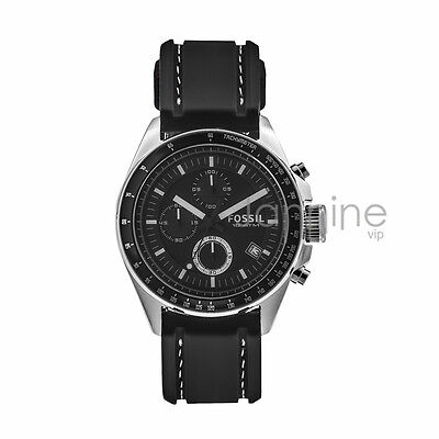 Fossil Authentic Watch Men's CH2573 Black 44mm Decker Silicone Chronograph