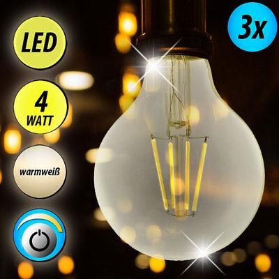 3x Vintage Filament LED Leuchtmittel 4W Kugel Glühfaden Retro Leuchten warm weiß
