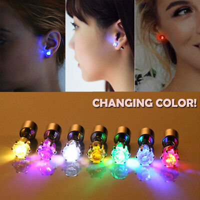 3 Pair Crystal LED Light Up Glowing Earrings Ear Studs For Party Xmas Dance Gift