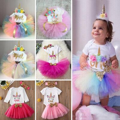 Kinder Baby Mädchen 1. Geburtstag Kleidung Einhorn Strampler - Mädchen Tutu