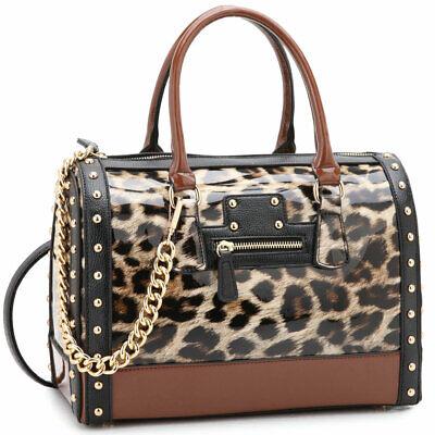 - Dasein Women Handbag Patent Faux Leather Barrel Satchel Bag Tote Bags Purse