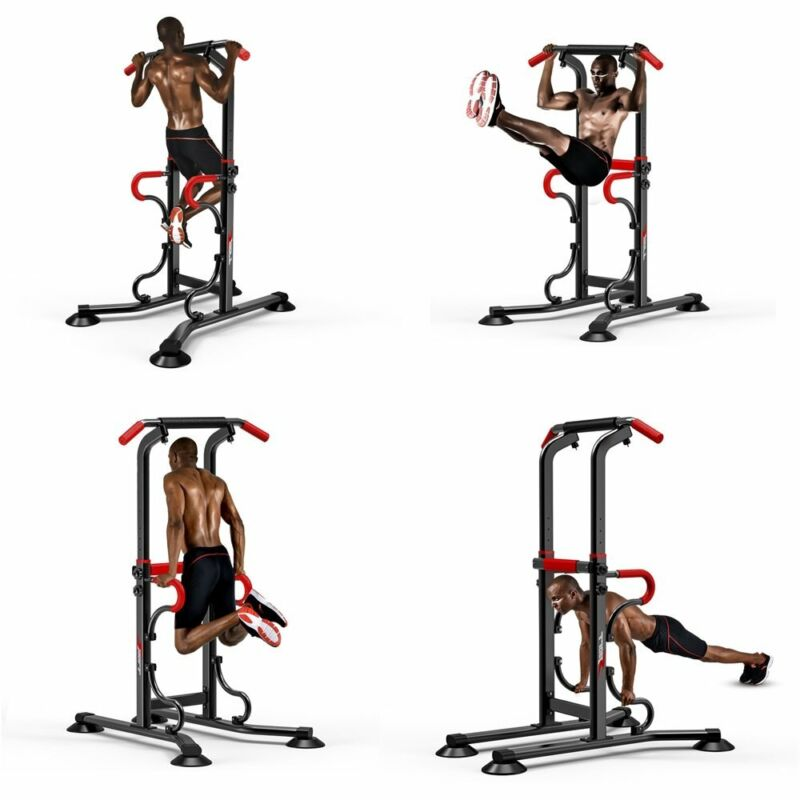 Dip Station Power Tower Pull Up Bar Strength Training Workout Equipment Trainer