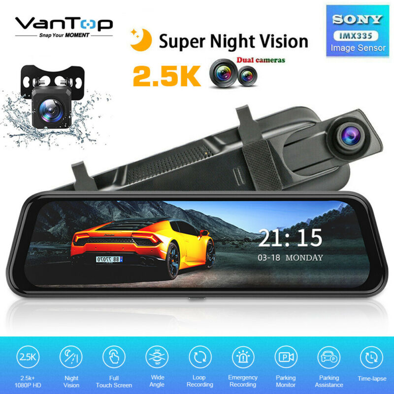 "VanTop 10"" HD 2.5K Dual Lens Car DVR Dash Cam Video Recorder Rearview Mirror US"