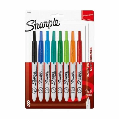 Sharpie 1742025 Retractable Permanent Markers Ultra Fine Point Assorted Col...