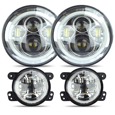 LED Halo Headlights + LED Fog Light DRL Combo Kit For Jeep Wrangler JK 07-2016 C