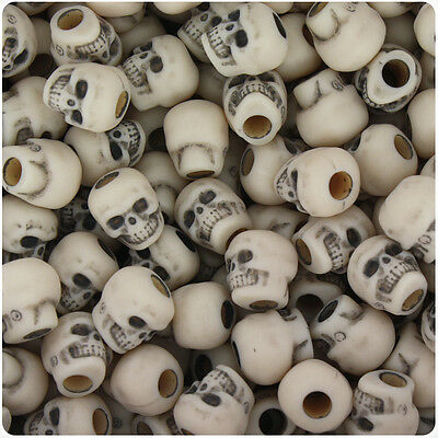 Halloween Mm (150 Dark Ivory Antique 11mm Halloween Skull Pony Beads Made in the)