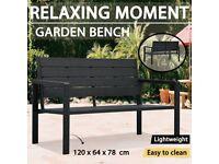 Garden Bench 120 cm HDPE Black Wood Look-47878