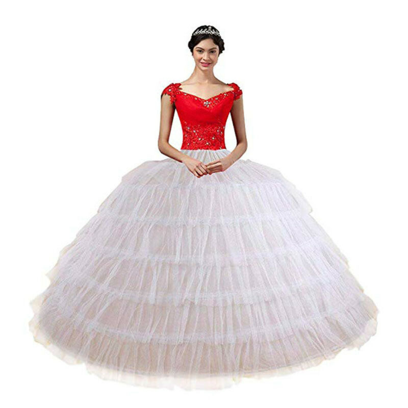 White Petticoat for Wedding Dress 6 Hoop 6 Layers Tulle Ball Gown Prom Crinoline