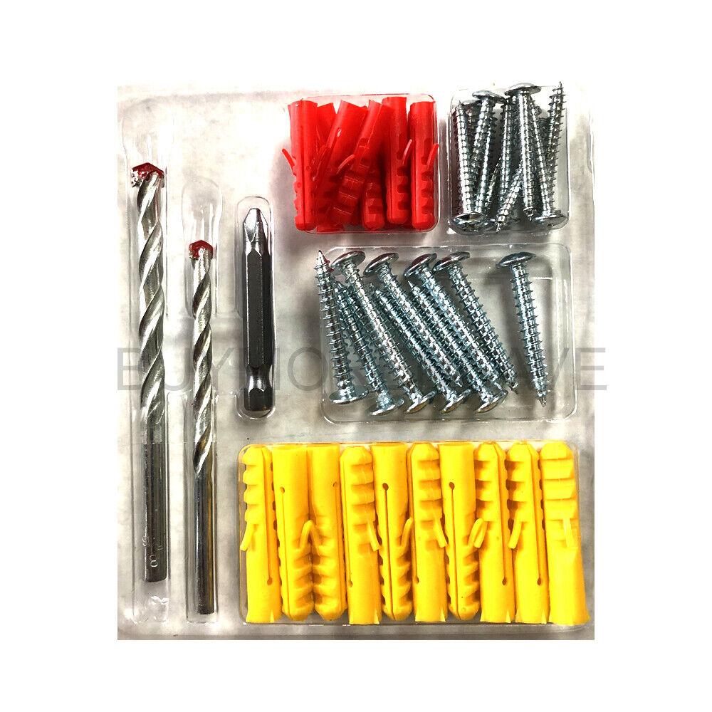 43 Pcs Masonry Drill Bits & Wall Plugs Anchors & Screws & Sc