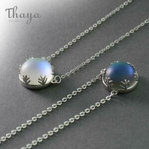 Beautyfull real Silver 925 stamped Thaya 55cm Aurora Pendant Necklace Halo Crystal Gemstone Elegant Jewelry Gift