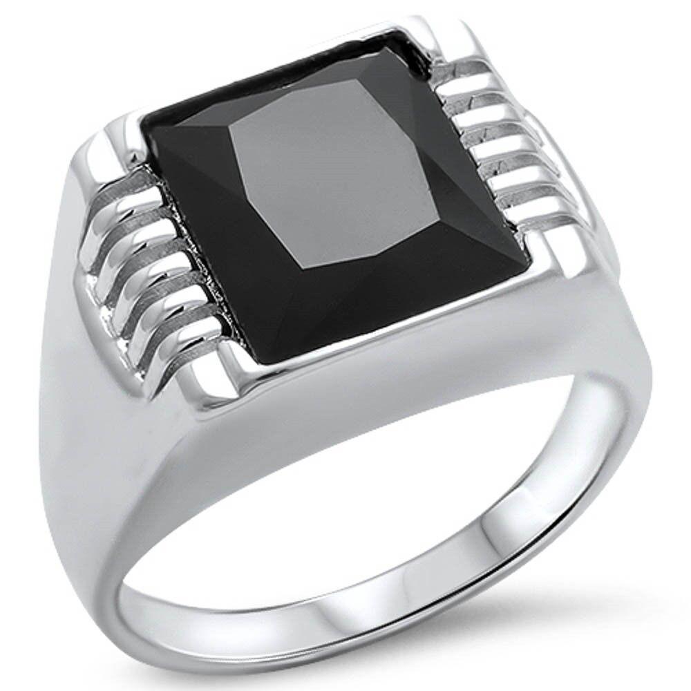 men 39 s black onyx 925 sterling silver ring sizes 9 14 ebay. Black Bedroom Furniture Sets. Home Design Ideas