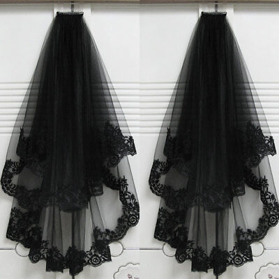 2T Black Lace Wedding Mantilla Bridal Gothic Veil+Comb COSPLAY Halloween Veils (Black Bridal Veil Halloween)