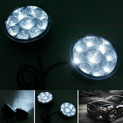 2pcs 9 LED Auto Car DRL Daytime Running Light White Driving Fog Lamp 12V Round
