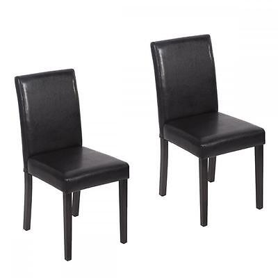 Set of 2 Swarthy Leather Contemporary Elegant Design Dining Chairs Home Room U42