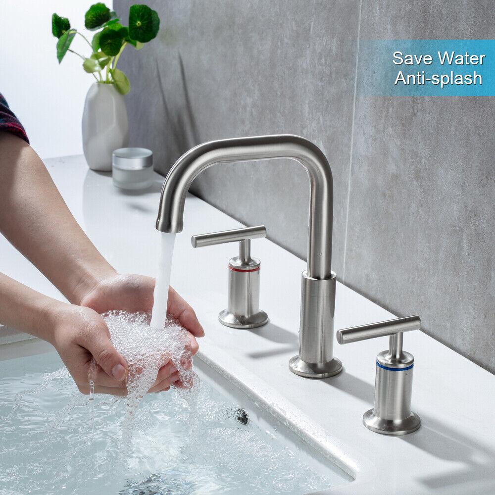 Widespread Bathroom Basin Sink Faucet Mixer Tap 3 Hole 2 Handle W/ Pop Up Drain 3