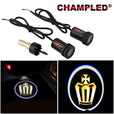 Champled For Gold Crown Door Projector Logo Shadow Car Tuning Lights Emblem