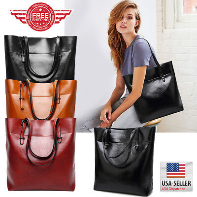 Women Tote Bag Leather Bags Handbag Shoulder Hobo Purse Messenger (Leather Shoulder Tote Bag)