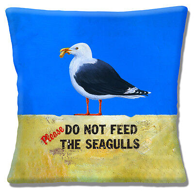 """Do Not Feed The Seagulls 16""""x16"""" 40cm Cushion Cover Seagull Eating Chip Mottled"""