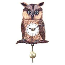 German Craftsmanship Owl's Eye Move with Pendulum Wall Clock 4W x 1.5D x5.75H in