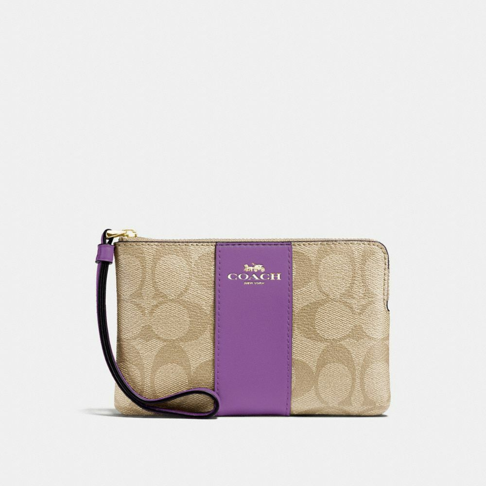 New Coach F58032 F58035 Corner Zip Wristlet With Gift Box New With Tags Light khaki Primrose